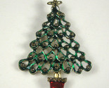 Vintage Christmas Tree Brooch Jewelry Goldtone X-mas Pin Enamel Star Green