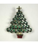 Vintage Christmas Tree Brooch Jewelry Goldtone X-mas Pin Enamel Star Green - $19.79