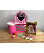 Barbie Pink Vanity Furniture Vintage with Accessories Lot Vanity Frame a... - $34.99