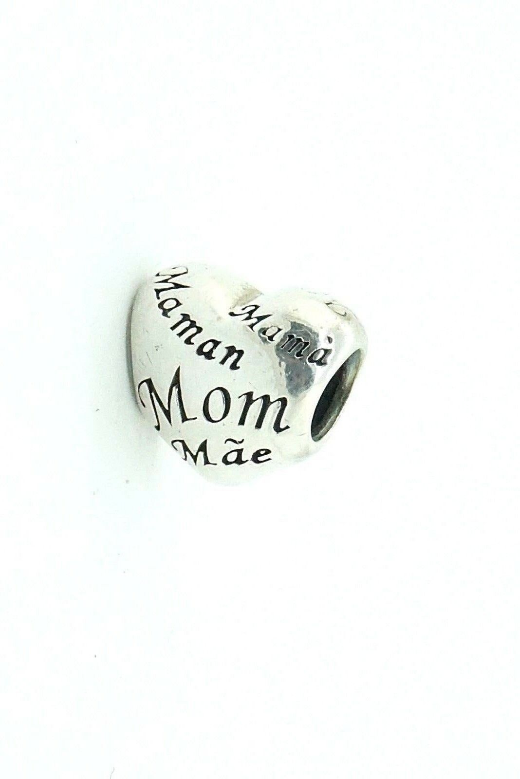 Women's Sterling Silver Authentic Pandora Charm Heart Engraved Mama' Mom #20883