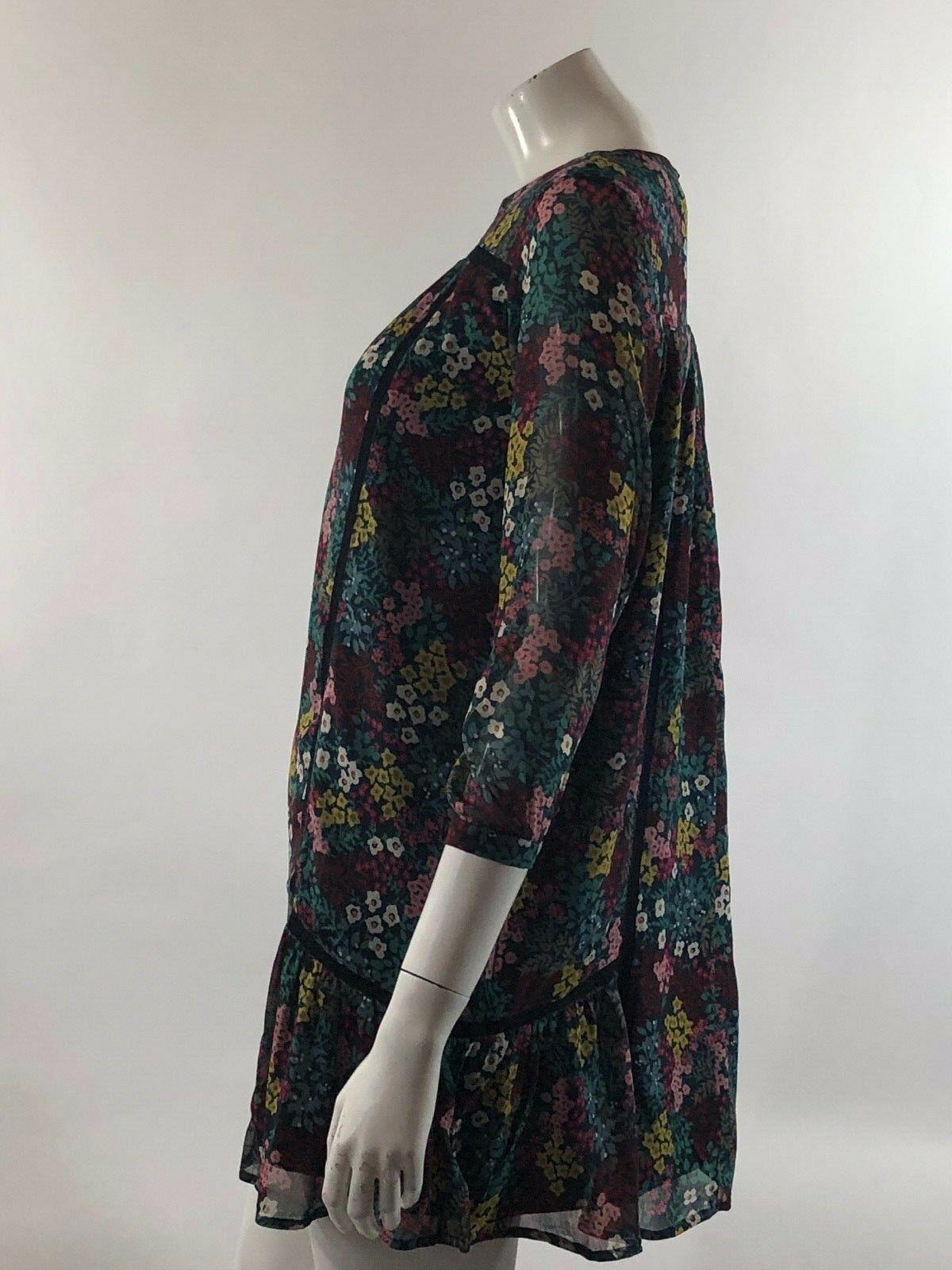 Ann Taylor LOFT Womens Dress Sz Small Petite Blue Pink Floral Sheer Overlay Boho