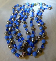 "1960s Vintage 54"" Long 2-tone Blue Beads Faceted Rondelle Goldtone Balls - $25.00"