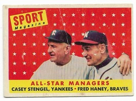1958 Topps #475 All-Star Managers, Casey Stengel and Fred Haney, Yankees... - $2.65