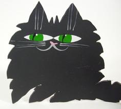 Black Cat Metal Free Form Green Eyes Wrap Tail Artist Marta Kitty Feline... - $14.80