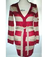 New NWT Womens Vertigo Paris Red Tan Striped Belt Cardigan Sweater Butto... - $160.00