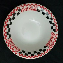 Vintage Gibson Coca Cola Black, Red & Checkered Cereal Bowl  - $8.56