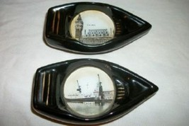 SOUVENIR BOAT ASHTRAY FRANCE CALAIS IMAGE UNDER GLASS RARE PARIS APT VIN... - $35.14