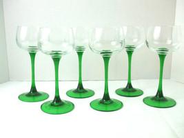 Vtg Set of 6 Luminarc JG Durand Green Stem Rhine Wine Glasses Made in Fr... - $34.60