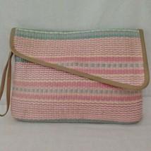 Vtg Woven Straw Clutch Bag Purse Handbag Pastel Large Pink Pacific Conne... - $24.99