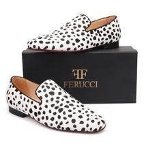 FERUCCI Black White Horse Hair  zebra Print  Slippers loafers Flat - $159.99