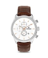 Vincero Luxury Men's Chrono S Wrist Watch — White dial with Brown Leathe... - $142.79