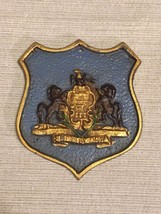 Vintage Pennsylvania State Seal Crest Shield Plaque Hand Painted Cast Ir... - $70.11