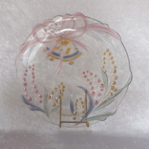 "Glass Wedding Bell and Baby's Breath 14"" Round Platter (No Marks) - $39.99"