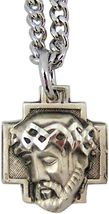 STERLING SILVER CROWN OF THORNS CHRIST HEAD CROSS PENDANT - $55.59