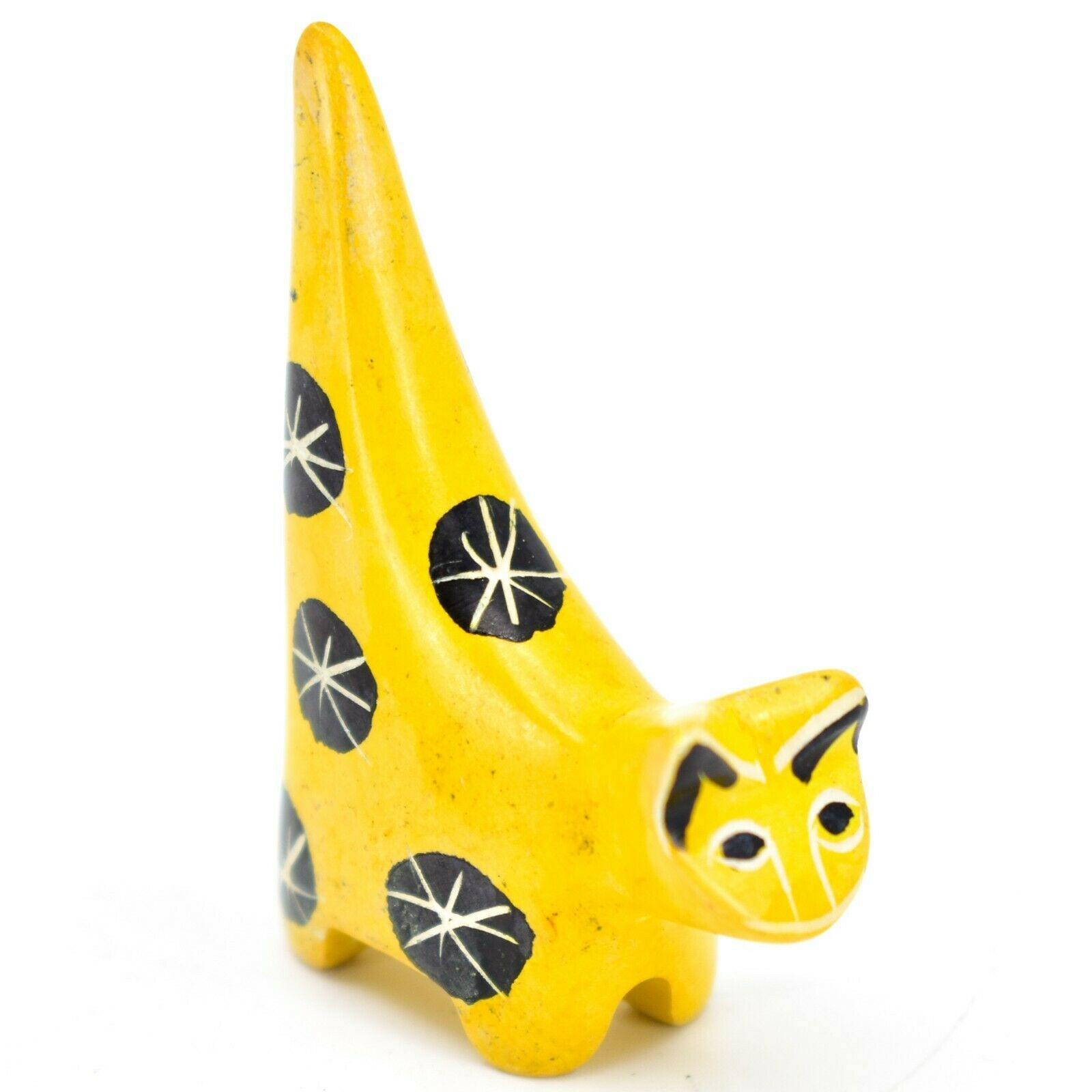 Vaneal Group Hand Crafted Carved Soapstone Tiny Miniature Yellow Cat Figurine