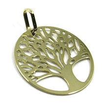 9K YELLOW GOLD PENDANT, FLAT TREE OF LIFE, DISC DIAMETER 17 MM, 0.67 INCHES image 2
