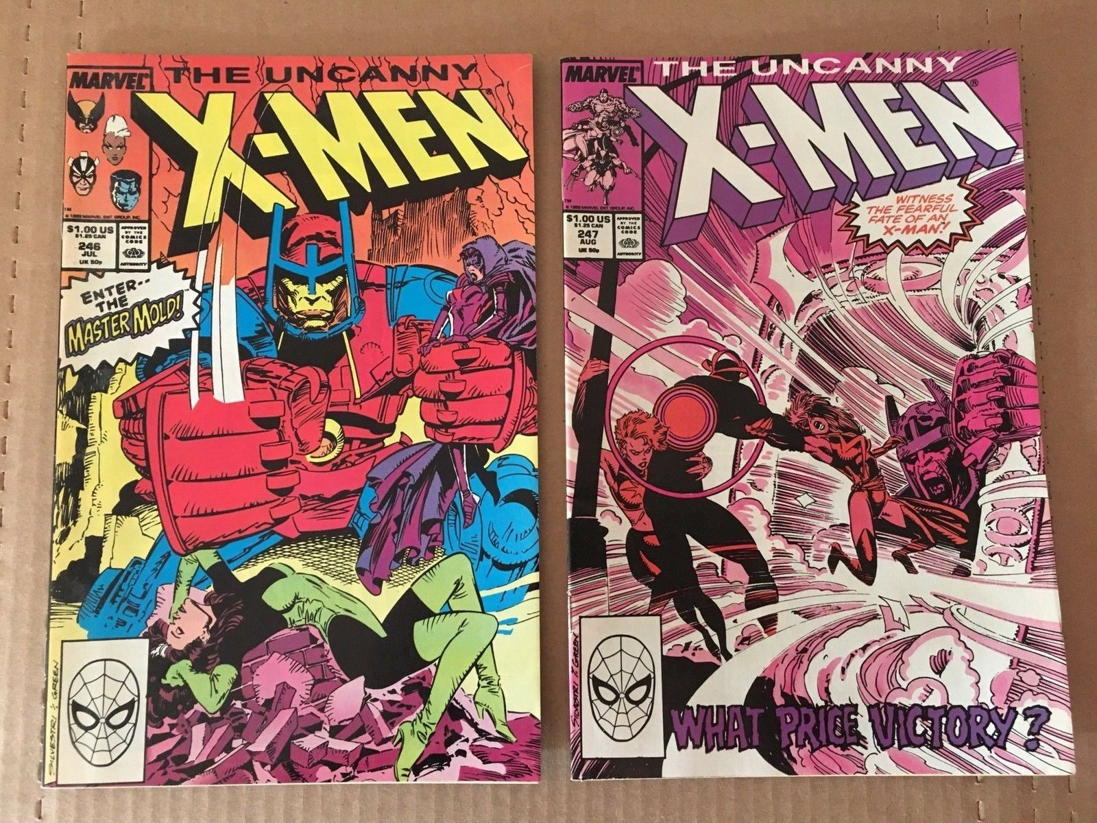 Uncanny X-Men #246 & 247 Marvel Comic Book Lot from 1988 VF+/NM Condition