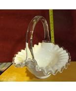 VINTAGE WHITE RUFFLED ART GLASS BAKSET  FENTON - $28.45