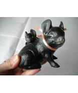 "Vintage Hampshire Mama Pig & One Piglet Black & White Figurine 4"" Tall C... - $12.95"