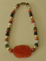 FINEST ANTIQUE CHINESE  SILVER NECKLACE WITH CARNELIAN JADE & VARIOUS ST... - $349.00
