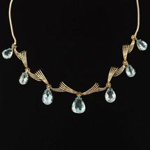 Impressive Art Deco 1940s Retro 18k Gold 25ct Aquamarine Pendant Drop Ne... - $3,856.05