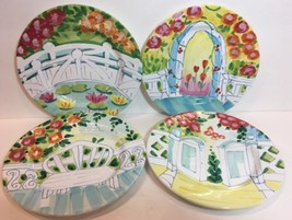 The Cellar HandPainted Garden Scene exclusively Made for FPD 4-Salad Plates 1996 - $64.34