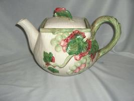 Vintage 1989 Ceramic Fitz & Floyd Grapes Vines 42 Oz Teapot & Lid  NICE - $64.35