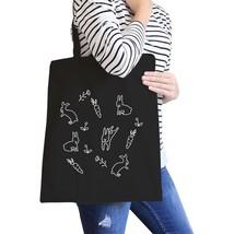 Rabbit Pattern Black Canvas Bag Cute Easter Bunnies Tote Bags - $15.99
