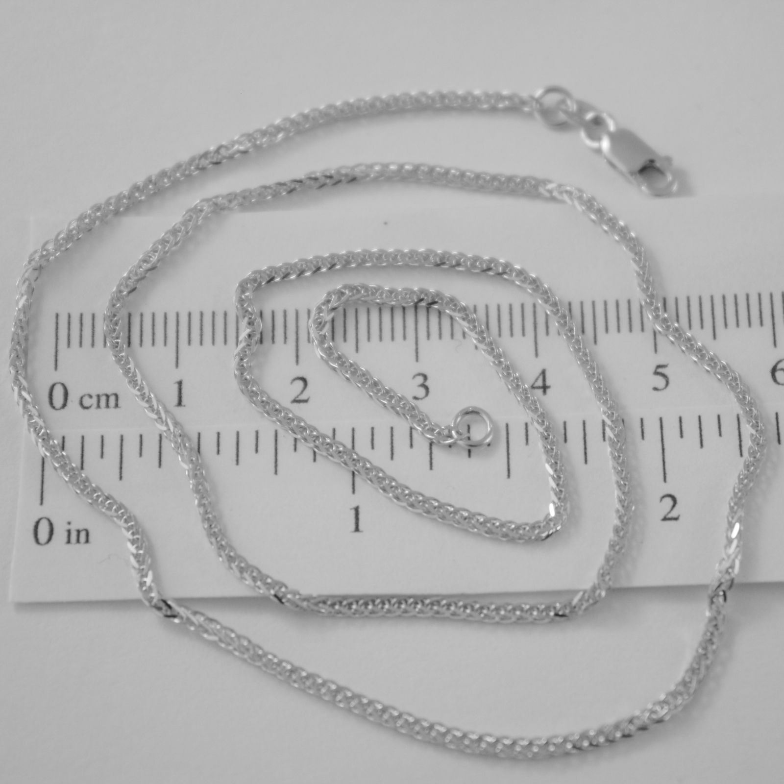 SOLID 18K WHITE GOLD CHAIN NECKLACE 2MM EAR SQUARE MESH 17.71 IN, MADE IN ITALY