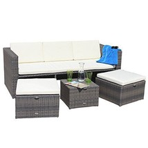 Sofa & Stools Garden Set 5 Seater Patio Furniture Cube Easy Storage Loun... - $1,338.57