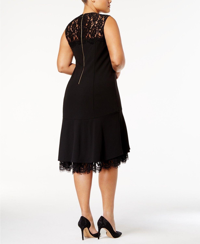 Calvin Klein Lace-Trim A-Line Dress BLACK SIZE 0P
