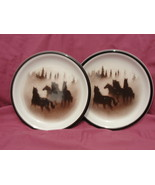 Two (2) LODGE STONEWARE - BIG SKY Pattern - SALAD PLATES  *scratched* - $27.95
