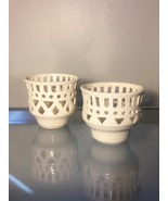 Artisan Pottery: Pair of White Cutout Tealight Candle Holders (RB08) - $20.00