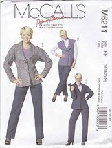 McCall's Patterns M6211 Misses' Lined Vest and Jacket; Belt and Pants, Size FF ( - $12.74