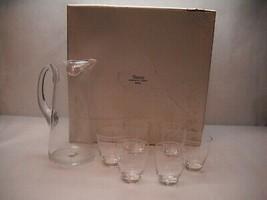 VINTAGE Glass PITCHER 6 Small GLASSES Swedish SHREVE Crump Low COMPANY Box - $61.71