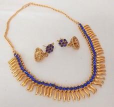 Indian Bollywood Fashion Gold Plated Blue Rhinestone Bridal Jewelry Necklace - $11.39