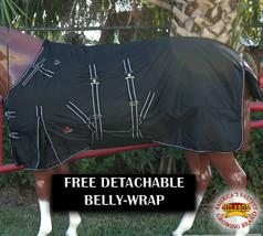 "75"" Hilason Waterproof 1600D Poly Turnout Horse Winter Belly Wrap Blanket U-R-75 - $84.99"