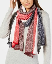 Calvin Klein Vertical Logo Ck Soft Scarf (Dark Cranberry, One Size) - $45.96
