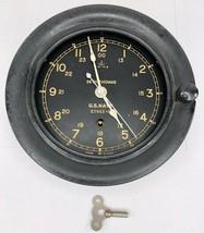 Seth Thomas 1942 US Navy Military 24 Hour Deck Boat Clock PARTS NO GLASS... - £114.59 GBP