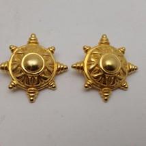 Vintage Ben-Amun Matte Gold Tone Clip Earrings - $37.62