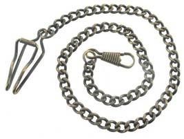 Vintage Watch Chain J EAN Clasp Dark Gold Bronze Finish - $53.99