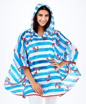 Nautical Compact Rain Poncho w Bag - Polyester Raincoat Waterproof w Hood Blue image 2