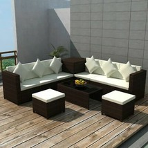 vidaXL Garden Sofa Set 26 Piece Poly Rattan Wicker Brown Sectional Storage - $995.99