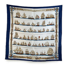 Authentic Hermes Vintage Silk Scarf Navires d'Europe 1965 Francoise Heron - £242.05 GBP