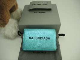 BALENCIAGA Authentic Metallic blue Calfskin Leather Compact Wallet Used - $362.99