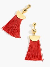 NWT J.Crew 100%Authentic Gold Fiery Sunset Tassel Drop EARRINGS & Dust Bag - $26.99