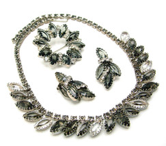 Vintage Rhinestone Necklace Brooch & Earrings Set, Smoke And Clear, 1950s - $89.95