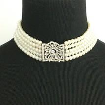 KENNETH JAY LANE vintage faux pearl choker necklace - Art Deco rhinestone center - $142.10
