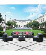7PC Furniture Patio Rattan Wicker Outdoor Sectional Sofa Chair Set Garde... - $884.97