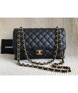 AUTHENTIC CHANEL BLACK CAVIAR QUILTED JUMBO DOUBLE FLAP BAG GOLD HARDWARE - $4,199.99